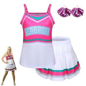 2020 Moda Halloween Cheerleader Cosplay meninas Addison Outfits Fancy Dress Camisole com Mini saia plissada para Zombie