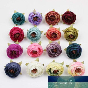 DIY 16 Colors Tea Rose Bud Small Peony Fake flower Artificial Wedding Flowers Silk Flowers Head Party Decoration Home Decor gift box