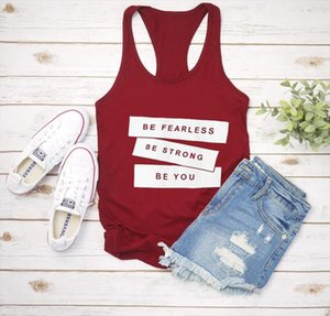 Vest BE FEARLESS BE STRONG BE YOU Summer Letter Print Womens Funny Casual Tank Top Shirts Sayings
