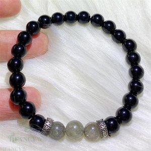 8 milímetros Obsidian Spectrolite Beads Mala Pulseira Espiritualidade religiosa tibetana Meditação Bangle