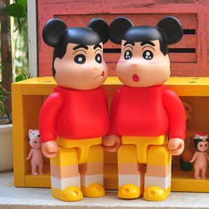 New 400% Cartoon creative Crayon Shin-Chan Bearbrick Violent Bear Handmade Model Toys Desktop Decorations Birthday Christmas Gifts FD65