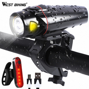WEST BIKING 2 Pcs LED Bicycle Lights USB Rechargeable Bike Front Light Bicycle Taillight Road MTB Rear Light Bike Lamp wdiF#