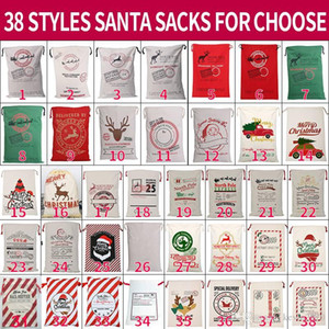 Christmas Santa Sacks 38 Styels Canvas Cotton Bags Large Organic Heavy Drawstring Gift Bags Personalized Festival Party Christmas Decoration
