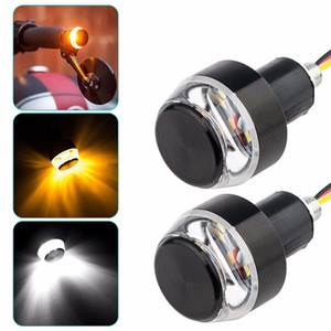 Motorcycle LED Handlebar End Turn Signal Light DC 12V White Yellow Flasher Handle Grip Bar Blinker Side Marker Lamp