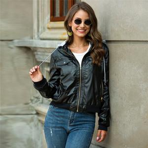 Designer PU Vestes en cuir mode Punk à manches longues col capuche Manteaux Automne et Hiver Nouveau Femmes Slim Vêtements avec fermeture éclair et poches