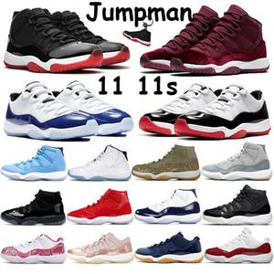 Высокий Jumpman 11 11s баскетбол обувь разводила прохладной серой наследница ночь бордового Pantone OVO розовой змеиной кожи низкой легенду синей тапку женщин