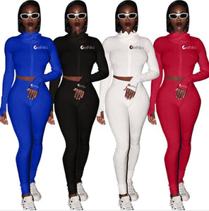 Solid Color Womens Two Piece Outfits Designers Hoodie Crop Tops Zipper Jacket Coats and Leggings Pants Skinny Tracksuit Swimwear E92707