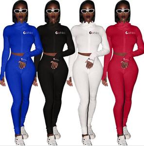 Femmes Solid Color deux pièces Tenues Concepteurs à capuche Veste Zipper Tops Crop Manteaux Pantalons et leggings Skinny Survêtement Maillots de bain E92707