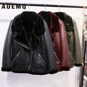 AOEMQ Retro New Lapel and Velvet Padded Fur One Coat Warm Fashion PU Leather Lamb Hair Motorcycle Clothing Bomber Jacket T200831