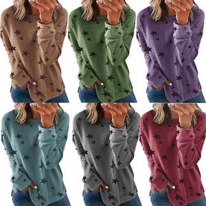 Women Long Sleeve Tops Autumn T Shirts Ladies Stars Print Sweatshirts Round Collar Pullover Tops Female Plus Size Shirts 050924