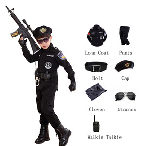 Children Halloween Policeman Costumes Kids Party Carnival Police Uniform 110-160cm Boys Army Policemen Cosplay Clothing Sets C0927
