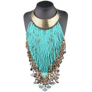 Claire Jin Statement Großer Halskette Frauen Lange Quaste großer Kragen Perlen-Münzen-Chunky Schmuck Mode Ethnisches Zubehör