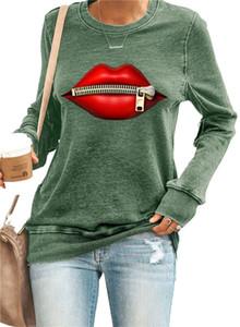 Femmes Zipper Bouche Mode Automne Hiver T-shirts O-manches longues Pull lâches T-shirts femmes haute Streetwears