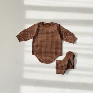 2020 New Newborn Suit Baby Boy Girl Clothes Plaid Rompers Long Pants Set Spring Clothes Infants Onesie 2pcs 0927