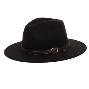 Wool shallow fedora warm adjustable men's fashion hats unisex belt gold buckle male large size 60CM caps hat classic bowler jazz