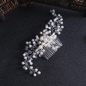 QRhyk Bridal Hair Ornaments Pearl Hairy Hearwear Accessori per capelli da sposa Pettine per le donne Ragazza Paesaggio Copricapo Testa Decorazione