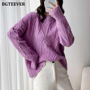 BGTEEVER Outono Inverno Grosso Argyle Feminino malha Jumpers Casual solta O pescoço pulôver de sweaters da Mulher de 2020 Tops Knitting