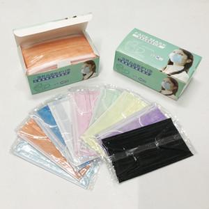 factory outlet di vendita al dettaglio imballaggio Bocca mascherina mascherine monouso faccia nera Non Tessuto Maschera anti-polvere Maschera 3 filtro a carboni attivi protettivi