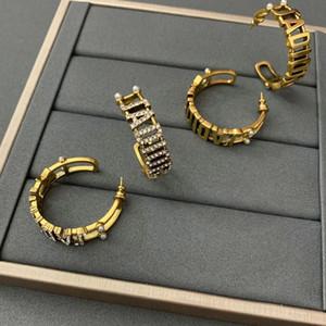 D Familie 2020 neue Brief Ohrringe weibliche Dijia Internet Berühmtheit kleine Übertreibung S925 Silber Nadel Ohrringe