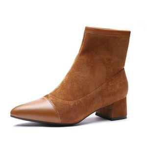 Hot Sale-Boot Ankle Short Boots Flock Spitzschuh-Platz Heels Winter-Plüsch-Booties Frau Slip-on