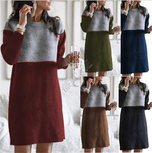 Winter-Frauen lange Strickjacke Art und Weise kleidet Spliced Rock losen großen runden Ausschnitt Langarm-Frauen-Kleid 5 Farbe Boutique S-3XL SALE D82603