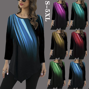 Fashion women's autumn and winter new casual rainbow gradient printing round neck top T-shirt loose long sleeves