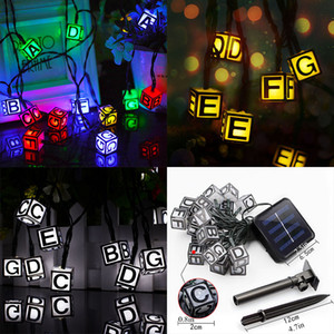 LED English Letter Solar Powered Light Halloween Christmas Decorations 30 Lights Home Outdoor Garden Patio Party Holiday Supplies WX9-40