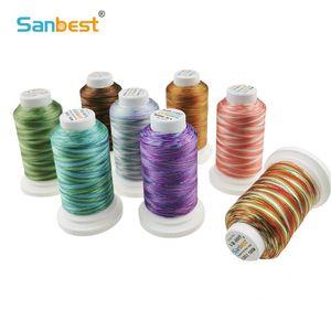 Sanbest bunten Farben Polyester Stickgarn für Maschine 1000M Nähen Home Maschinen Factory Outlet