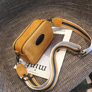 Vintage Wide Strap Women Crossbody Bags Designer Pu Leather Lady Shoulder Messenger Bag Small Flap Square Purses Female