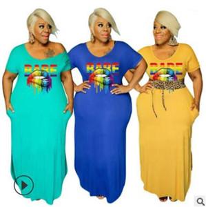 Lippen Solid Color Brief gedruckte kurze Hülsen-lange Kleid plus Größe weiblicher Kleidung Sommer-Frauen Designer Bleistift-Kleider Sexy