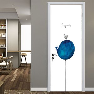 Whale door sticker self-adhesive home decoration wall wallpaper poster vinyl removable waterproof cartoon art can be customized