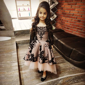 Charming A Line High Low Little Girls Prom Dresses for Wedding Square Neck Long Sleeve Sequined Toddler Birthday Party Gowns