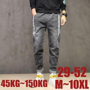 9XL 10XL Plus Size Mens calças calças casuais elásticas calça jeans de cintura Elasticidade Hetero Homens Big 48 50 52 150 KG solto calças Pant