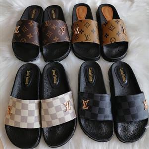 Para mujer y para mujer de la marca L Beach zapatillas de cuero de las sandalias de la correa V diapositivas de diseño deslizadores planos de los zapatos de las chancletas de canal de lujo de alta calidad