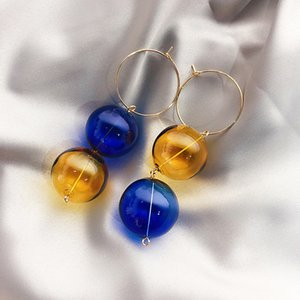 2020 Korea New Design Jewelry Exaggerated Contrast Handmade Colored Glass Ball Earrings Long Simple Round Earrings for women