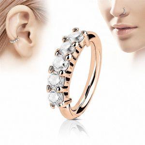 Ювелирные изделия 1Pc тела Кристалл козелка Нос кольцо уха обруча хрящ медицинский из нержавеющей стали пирсинг уха Bone ногтей ювелирные изделия DHL sxXe #