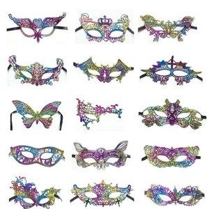 Dantel Yarım Yüz Renkli Altın Damga Kadınlar Dans Dantel Masquerade Maskeler Maske Renkli Kostüm Partisi Noel AHC1098 Malzemeleri