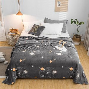 50 Starry sky bedspread blanket 200x230cm High Density Super Soft Flannel Blanket to on for the sofa Bed Car Portable Plaids