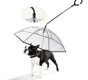 guarda-chuva pet transparentes cão em forma de C-pet fornecimentos guarda-chuva fábrica vendas diretas cão chuvoso ajustável coleira curta