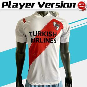 Player-Version River Plate Fußball Trikots zu Hause weiß 2021 Männer Argentinien Liga Fußballhemd Customized Fußball Uniform