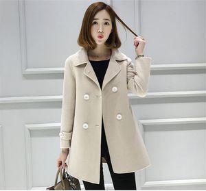 패션 여성 겨울 자켓 긴 소매 솔리드 컬러 더블 브레스트 슬림 여성 코트 새로운 여성용 디자이너 의류