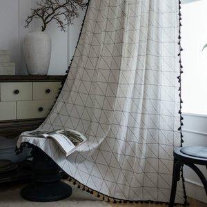 Semi Blackout Шторы для гостиной Спальня Хаки Геометрический Pattern Декоративные занавески Готовые Сделанные Готовые занавески