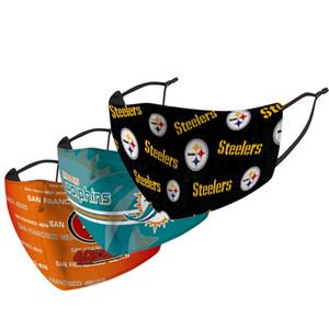 새로운 패션 재미 리그 럭비 참모 애국자 이글 카우보이 타이거 스틸러스 얇은 세척 얼굴 무료 DHL 운송 마스크 마스크