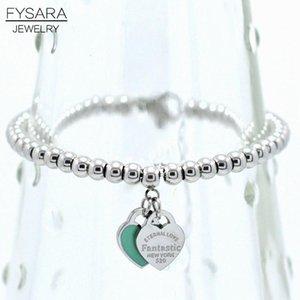 Fysara Marque de luxe Eternal Double Heart Bracelet Boules de perles pour les femmes Couple Vert Rose Charm Bracelets C19041201