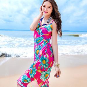 Big Sale Bohemian Femmes Summer Beach Bikini Dress Cover-up Maillot de bain couverture en coton Tunique Sexy col V profond Robe d'été Caftan