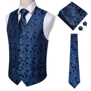 Hi-Tie Navy Paisley 100% Silk Dress Vest Set For Men Dark Blue Jacquard Men's Suit Vest Male Waistcoat For Wedding Formal Jacket 200924