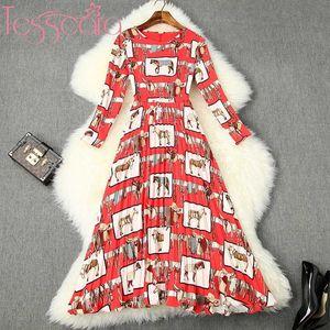 Plisado TESSCARA mujeres de lujo diseñador de pista vestido de Fiesta de alta calidad de la vendimia del traje de coctel elegante del partido de la gasa Vestidos