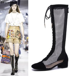 Summer Women Runway Knee High Boots Sexy Cut-outs Cross-tied Gladiator Sandals Boots Low Heel Hollow Out Leather Model Shoes