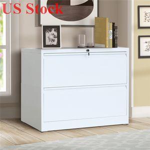 US-Stock-Weiß Abschließbare Lateral File Cabinet 2 Schublade mit Sperrtaste WF192114KAA