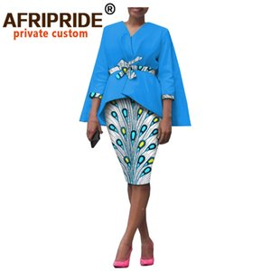 Africa 2 piece skirt set for woman afripride no button top with bands + knee length pencil skirt female casual set a1826028